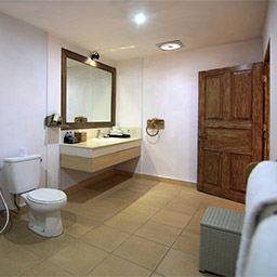 Clean en-suite bathroom provides generous space and bath amenities including rain shower.