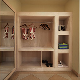 Hold and manage all of your clothes during stay at this beautiful wooden wardrobe. Pajamas, slippers, towels, laundry bag, and safety box are available here.