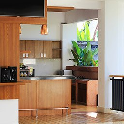 A well-equipped kitchenette  for your Bali holiday can be enjoyed at this three bedroom private villa with pool, Presidential Suite. An ultimate selection suffices and comforts your families or vacation group.