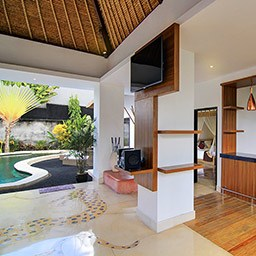 An easy access to kitchenette, living area, and even the private pool is very close from one of the bedrooms.