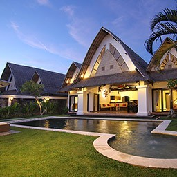 When the sun goes down, the villa building included landscaped garden with pool looks more picturesque and peaceful.