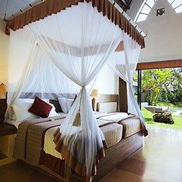 Every morning, you will be greeted and calmed by a lovable garden view beside your beautiful canopied bed.