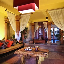 A spacious and lovely decorated lobby with a glimpse of romanesque jacuzzi behind the curtain calm your mind at the very first sight.